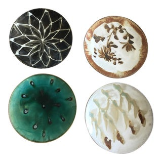 Handmade Studio Art Pottery Plates- Set of 4