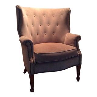 Beige Ultrasuede Mid-Century Modern Armchair