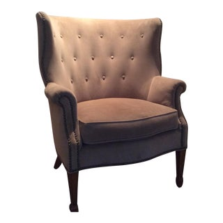 Beige Velvet Mid-Century Modern Armchair