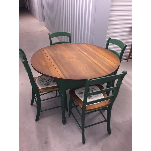 Antique Kitchen Table With Hand Painted Chairs - Set of 5 - Image 10 of 10