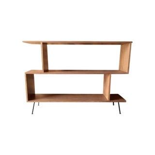 Mid-Century Style Custom Walnut & Metal Shelf