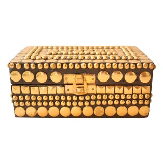 Gold Studded Wood Box