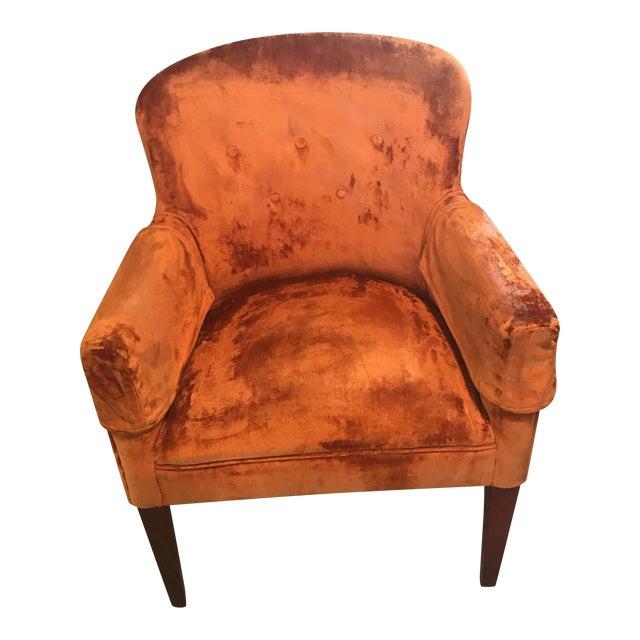 Burnt orange velvet chair vintage chairish for Burnt orange accent chair