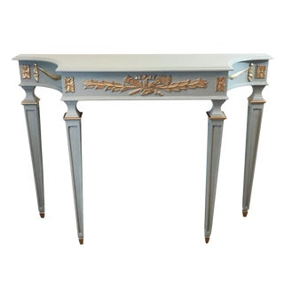 French Gray Blue Neoclassical Console Table