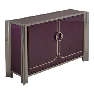 An Aubergine Lacquered Two-Door Cabinet by Mastercraft, 1980s