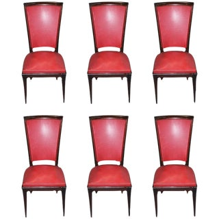 Vintage French Art Deco Solid Mahogany Dining Chairs - Set of 6