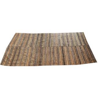 Antique Turkish Handmade Striped Flat Weave Rug - 5′3″ × 7′5″