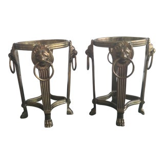 Vintage Hollywood Regency Brass Lions Head Candle Holders - A Pair