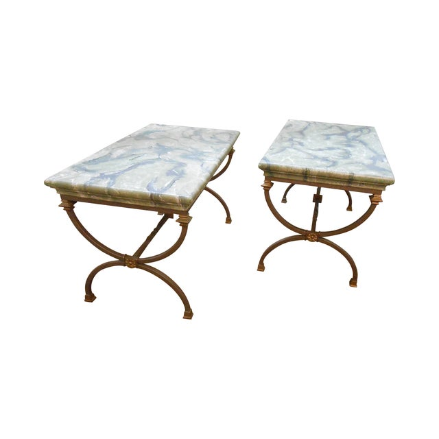 Image of Regency Directoire X Base Iron Consoles - A Pair