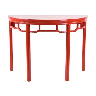 Baker Coral Red Console Table