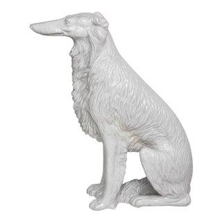 Life-Size Borzoi in Italian White Glazed Terracotta