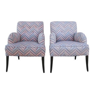 Comfortable Chairs in Zig-Zag Fabric - a Pair