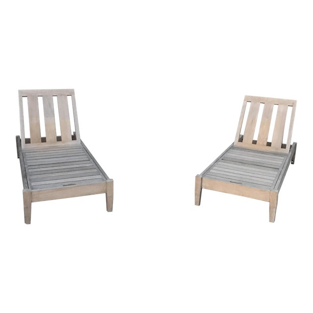 Restoration hardware teak chaises a pair chairish for Restoration hardware teak outdoor furniture