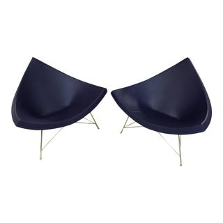Herman Miller George Nelson Purple Egglant Coconut Chairs - A Pair