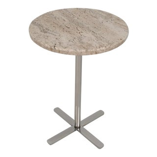 Travertine Marble and Chrome Drinks Table, circa 1970s