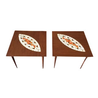 Mid-Century Mosaic Tile Side Tables - A Pair