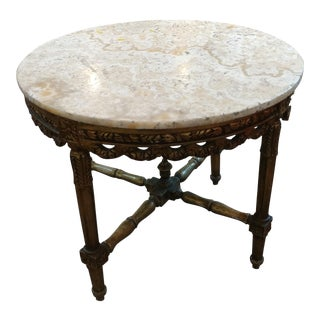 19th century Louis XV Carved Gilt & Marble top coffee table