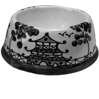 Black Chinoiserie Dog Bowl