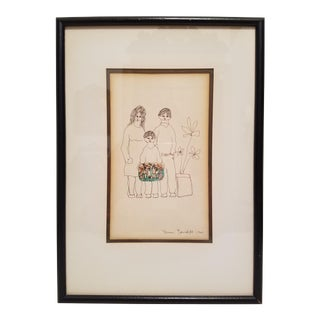Mid-Century Original Signed Drawing by Yanni Posnakoff