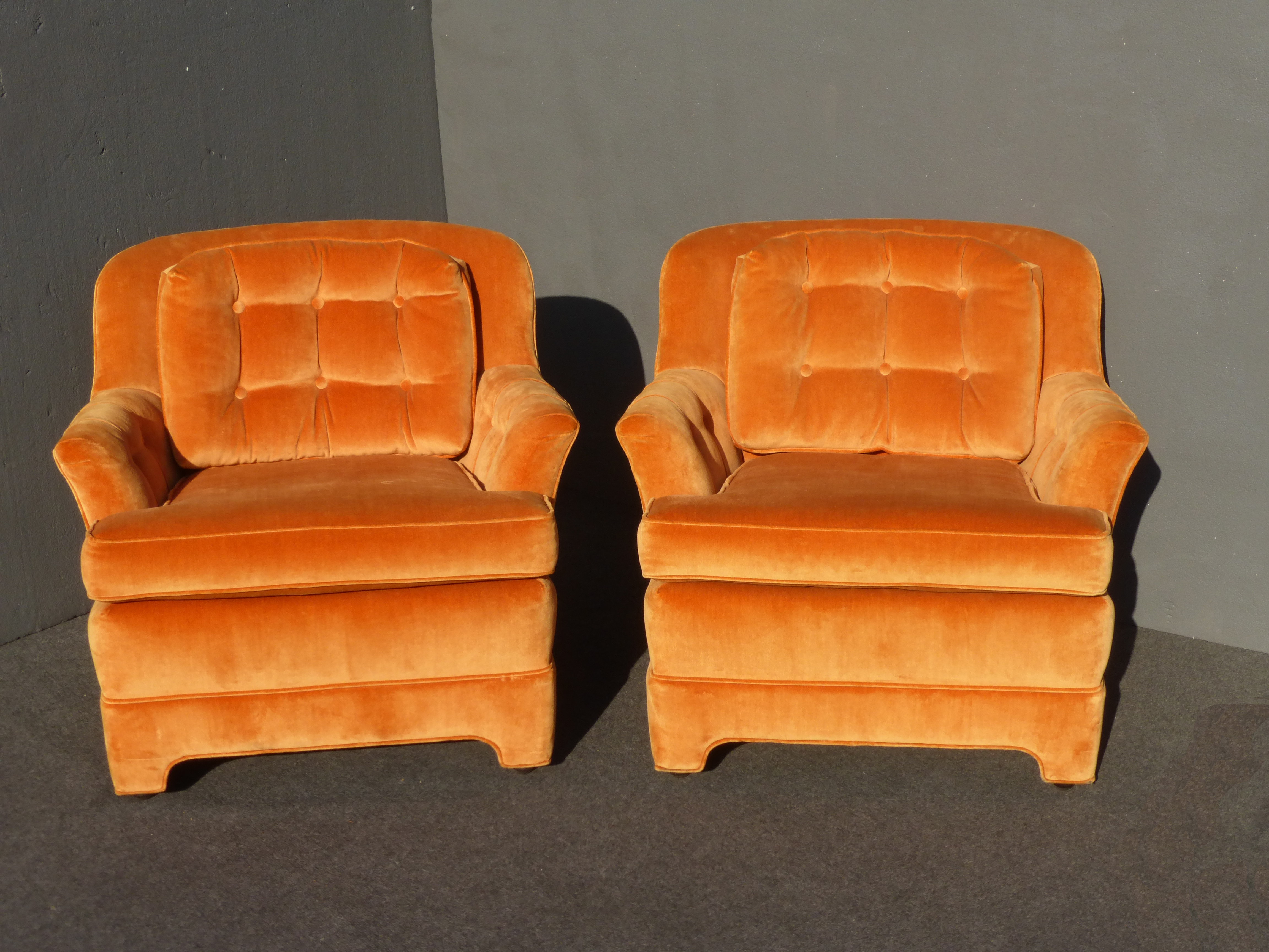 Mid Century Tufted Orange Velvet Accent Chairs   A Pair By Marge Carson    Image 2