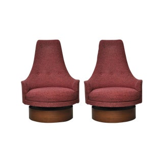 High Back Swivel Lounge Chairs by Adrian Pearsall