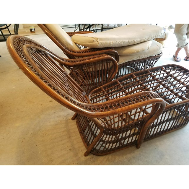 Vintage wicker rattan chaise lounges a pair chairish for Antique wicker chaise