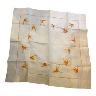 Embroidered Linen Table Cloth with Birds