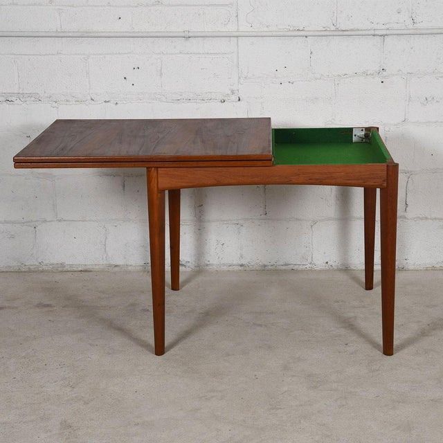 Danish Modern Teak Square to Rectangle Dining / Game Table - Image 4 of 7