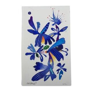 """Steve Klinkel """"Floral Blue Birds 1"""" Original Watercolor Painting"""