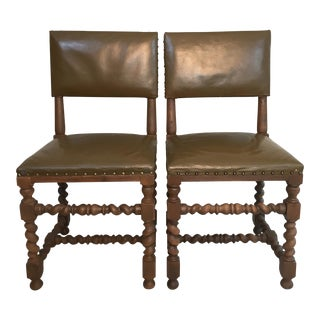 Barley Twist & Olive Leather Side Chairs - A Pair