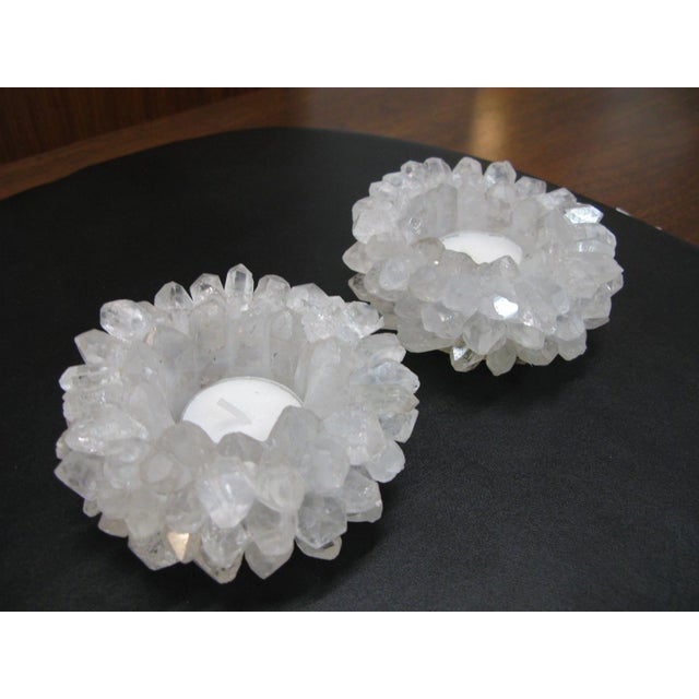 Clear Quartz Candle Holders - A Pair - Image 11 of 11