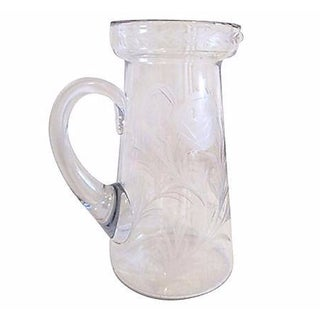 Mid-Century Crystal Etched Carnations Pitcher