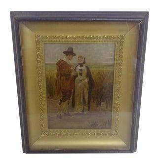 """1900s """"Pilgrims"""" Original Painting"""