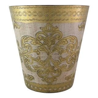 Italian Florentine Gold & White Wastebasket