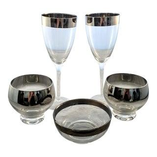 Dorothy Thorpe Wine Glasses, Bowl & Sherbet Cups - Set of 5
