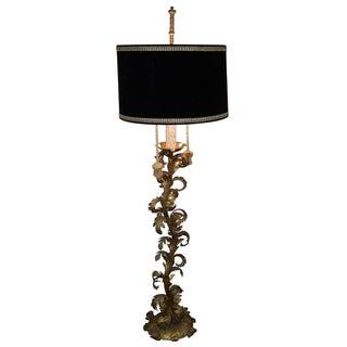 Vintage 1950s Italian Rococo Gilt Metal Floor Lamp
