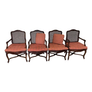 Sherrill Furniture French Provincial Caned Carved Wood With Cushions - Set of 4