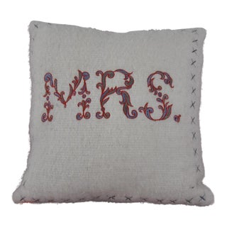 "Embroidered ""Mrs."" Pillow"