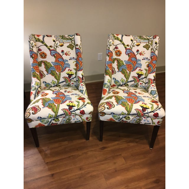 Colorful Reupholstered Slipper Chairs - A Pair - Image 2 of 8