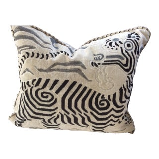 Clarence House Black & White Cut Velvet Down Filled Pillow