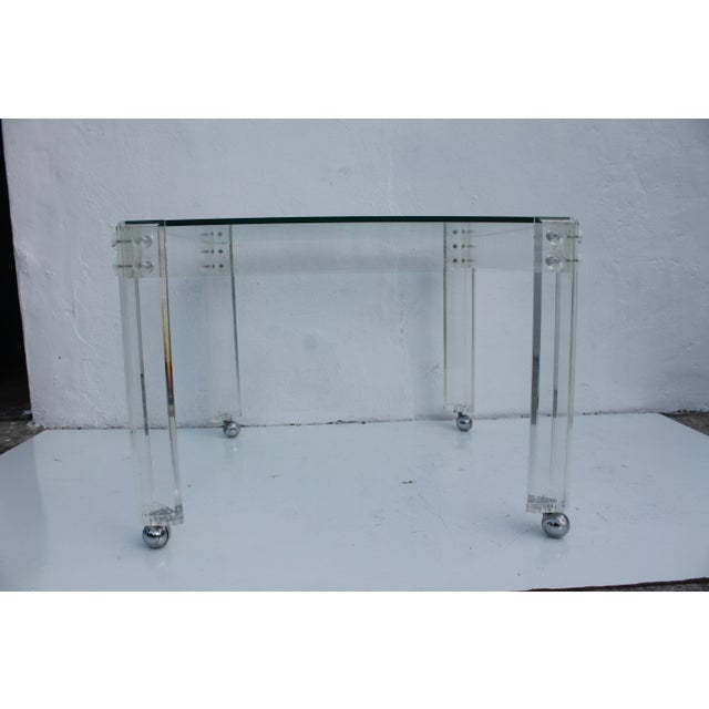 Square Lucite Dining Table Base - Image 8 of 8