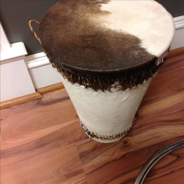 Cowhide Drum Side Table - Image 3 of 7