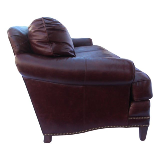 Pearson Chestnut Leather Sofa with Brass Nailhead Trim - Image 4 of 8