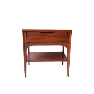 Vintage Mid Century Modern Nightstand with Silver Detail