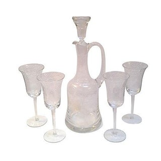 Crystal Decanter and Wine Glasses - Set of Five