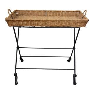 Umanoff Style Mid-Century Wicker & Iron Tray Stand