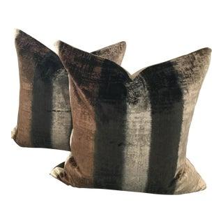 Pair of Designers Guild Striped Velvet Pillows