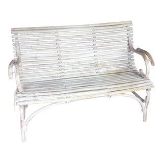 Vintge White Bentwood Bench