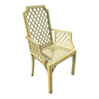 Vintage French Country Green Lattice & Cane Chair