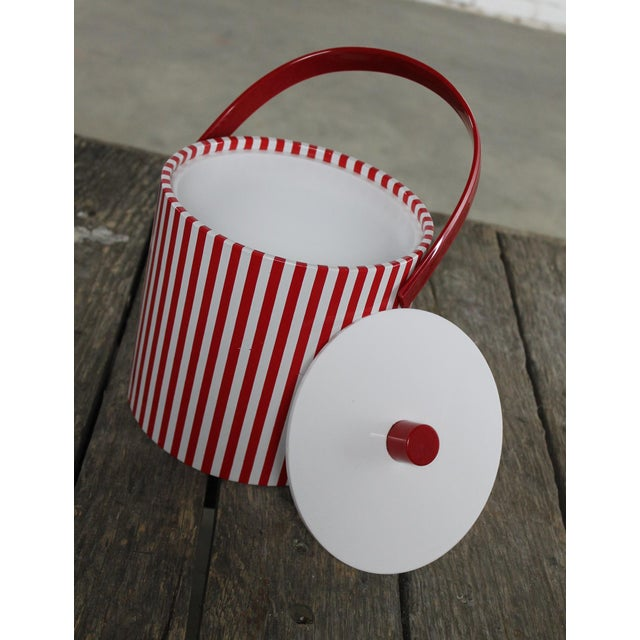 Mid-Century Red & White Ice Bucket, Tumblers and Tray Beverage Set - Image 7 of 11